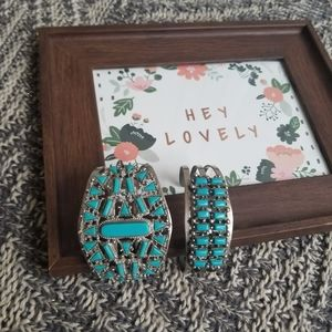 Vintage South Western faux turquoise cuffs